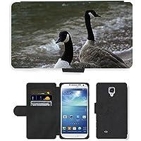 Grand Phone Cases PU Flip Carcasa Funda de Cuero Piel Cubre Case // M00140695 Branta Canadensis Canada Goose Uccello // Samsung Galaxy S4 S IV SIV i9500
