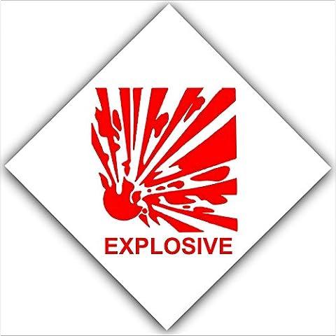 Esplosivi, 6 pezzi, colore: rosso su bianco, adesivi di adesivi, Allarme esterno esplosivi salute e sicurezza