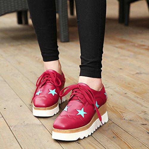 LvYuan Scarpe da donna / scarpe da ginnastica / cuoio brevettato / ufficio & carriera / tacco chunky / comfort / cappello quadrato / merletto Oxford / outdoor scarpe casual flatform Red