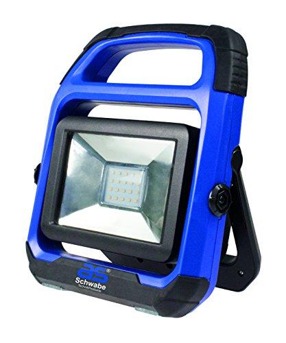 as - Schwabe 46492 CHIP-LED-Strahler 20W mit wechselbarem Akku, IP 54 Baustrahler, für Aussen und Baustelle, W, 230 V, Blau, 20 Watt (Blaue Led Rückseite Licht-lampen)