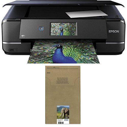 Epson Expression Photo XP-960 Tintenstrahl Multifunktionsdrucker schwarz + Epson T2428 Elefant, Claria Photo HD Tinte (CYMK) + passende Druckerpatrone