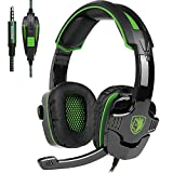 SADES SA930 Gaming Headset, Over Ear Headset Noise Cancelling Xbox One / PS4 / PC/Laptop / Computer/iPad und Smartphone Rauschunterdrückung Spiel Kopfhörer (Schwarz)