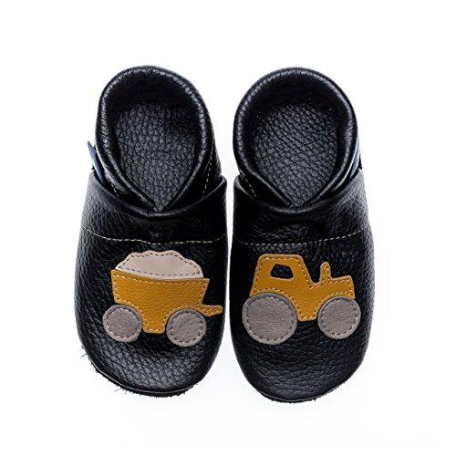pantau.eu Kinder Lederpuschen Krabbelschuhe Lauflernschuhe mit Traktor und Anhänger SCHWARZ_GELB_BEIGE