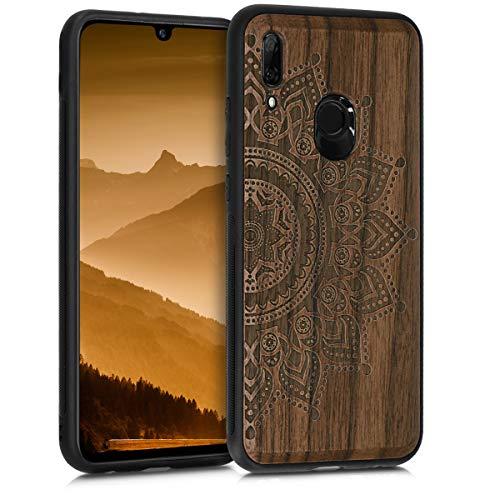 kwmobile Holz Schutzhülle für Huawei P Smart (2019) - Hardcase Hülle mit TPU Bumper Walnussholz in Aufgehende Sonne Design Dunkelbraun - Handy Case Cover