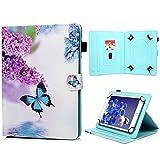 Coque Universel 9.5 Pouces - 10.1 Pouces, Housse en Cuir Flip Case Wallet Leather à Rabat Etui pour Samsung Galaxy Tab A 9.7/A6 10.1/E 9.6/3/4/S2 9.7/, Lenovo Tab 2/3/4 10 Pouces,Papillon Bleu Violet