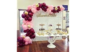 PuTwo Bordeaux Rose Confettis Or Ballon 70pcs 12 Pouces Ballon Rouge Bordeaux Ballon Rose Pale Ballon Confetti Or Ballon Gonflable pour Decoration Mariage Bordeaux, Vintage Decoration Anniversaire