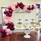 PuTwo Weinrot und Rosa Luftballons, 70 Stück Luftballons Weinrot Luftballons Bordeaux Luftballon Burgunder Luftballons Rosa Latexballons Konfetti Luftballons Gold für Geburtstag Hochzeit Baby Shower