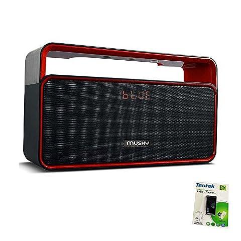 Tragbare Bluetooth-Stereo-Lautsprecher, mit 2x5W Acoustic Treiber, Dual-Subwoofer, FM Radio, Freisprecheinrichtung, Micro SD-Karte, USB und AUX-In-Slots für Smartphone, MP3, MP4, iPad, Tablet und mehr