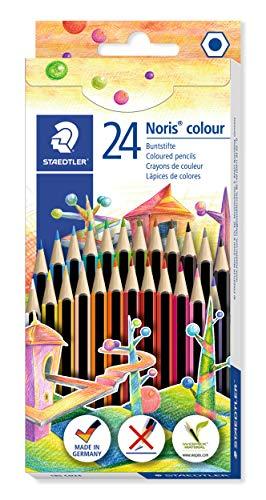 Staedtler 185 CD24 Farbstift, Stifte aus Wopex, Sechskantform, Kartonetui mit 24 ST Noris Colour...