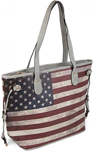 styleBREAKER Designer Handtasche im Vintage USA Stars and Stripes Design, Henkeltasche, Schultertasche, Damen 02012003, Farbe:Grau -