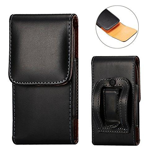 DAYNEW für 4.7-4.7-5.2 Zoll Universal-PU-Leder Hüfttasche Handytasche Tasche Smartphone Gürtelclip Haken Schleife Geldbörse Tasche für iPhone Samsung Sony Huawei-Schwarz