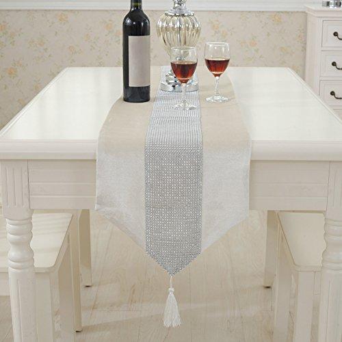 Runner da tavola moderno flanella strass copertura per tavolo da pranzo tovaglia runner panno decorazione per casa hotel ristorante, creamy white, 32 * 180cm