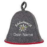Saunahut EDELSCHWEISS auch PERSONALIESIERBAR Saunakappe Saunamütze Sauna Filz Kappe Lustige Hüte (Grau mit Namen)