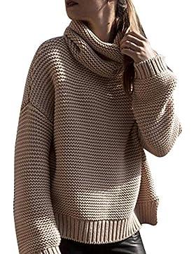 [Patrocinado]Jerséy de BaZhaHei, Suéter de Cuello Alto para Mujer Las Mujeres de Manga Larga Suelta Cuello Alto de Punto suéter...