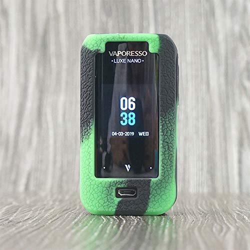 Skin Kit-grün (CEOKS für Vaporesso Luxe Nano Hülle, RutschfestSchützende Silikon-Hülle-Abdeckungs-Verpackungs-Haut für Vaporesso Luxe Nano Kit 80W 2500mAh Segeln Skin Ärmel Case Cover (Schwarz-Grün))
