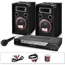 "Sistema DJ ""DJ-10"" 1000W. Altavoces, ampli, micro"