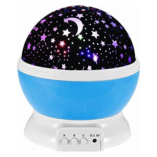 Etoiles Projecteur,Umiwe 360 degrés de rotation ciel étoilé projecteur romantique Projection Lampe d'éclairage d'étoile Pour enfants Adultes Chambre Baby Nursery Cadeau de Noël (Bleu)