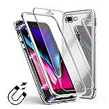 Coque iPhone 8 Plus / 7 Plus + Film Protection Ecran, Magnétique Adsorption Technologie Ultra Mince Aluminium Métal Antichoc Bumper Cadre et Transparent Verre Trempé Retour Anti Rayure - Blanc