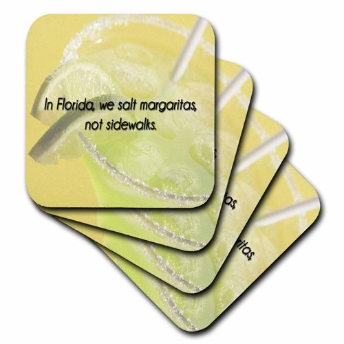 3drose-in-florida-we-salt-margaritas-not-sidewalks-green-and-yellow-background-ceramic-tile-coasters