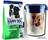 2 x 12,5 kg + Futtertonne 43 Liter Happy Dog Fit & Well Medium Adult