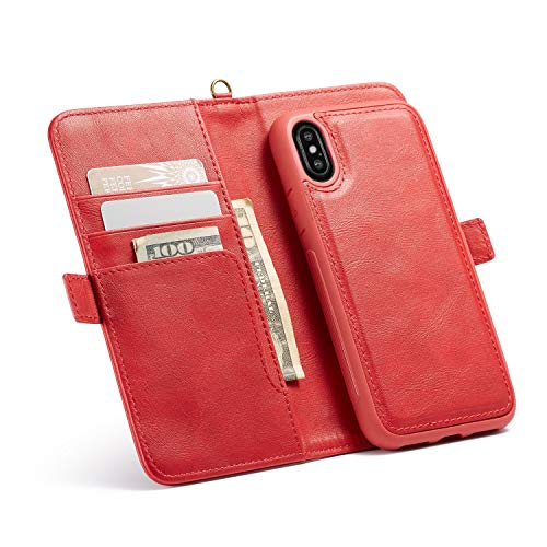 3C-LIFE iPhoneXSmax-Compatible Wallet Case, Durable Slim Classic Design Ultra Strong Magnetic with Hand Strap Leather Flip Folio Wallet Case for iPhone XS Max [Red]