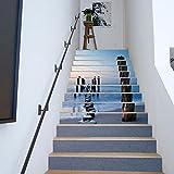 TIEZHI 3D Treppenhaus Aufkleber DIY Schritte Renovieren Abziehbilder HD Seeblick Wandgemälde Zum Home Art Dekoration Wandaufkleber, 100 * 18 cm * 13 Stk , 100*18cm*13pcs