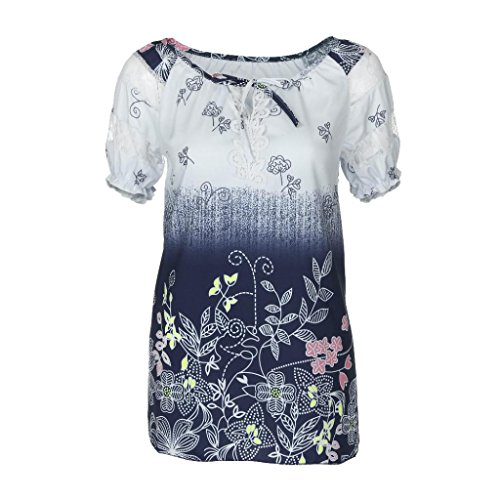 OverDose Damen Blumen Spitze Tops Frauen Kurzarm V-Ausschnitt Spitze Gedruckte Lose T-Shirt Bluse Oberteile Tees Shirt(Light Blue,2XL) (Muster Kimono-pullover)