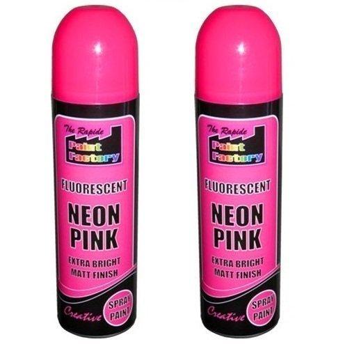 2-x-pink-fluorescent-neon-spray-paint-matt-diy-interior-exterior-bright-colour-aerosol