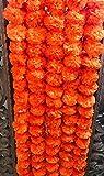 nexxa 5Stück Künstliche Dark Orange Ringelblume Blumen Girlanden 5ft Lange Verwendung in Partys, Feiern, indischen Hochzeiten, Indian Themen-Event, Dekorationen, Haus Erwärmung, Foto Prop, Diwali, Ganesh Fest