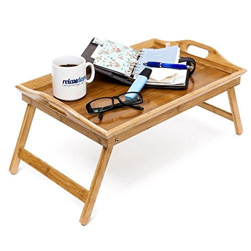 Bandeja, doble función, mesa de desayuno, patas desplegables, bambú, borde alto