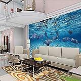 LONGYUCHEN Benutzerdefinierte Foto 3D Stereoskopischen Unterwasserwelt Von Meeresfischen Living Kinderzimmer Tv Hintergrund 3D Wandbild Tapete,120Cm(H)×210Cm(W)