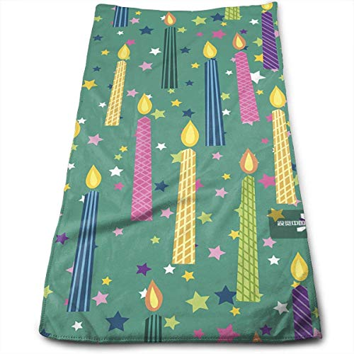 Hoklcvd Cartoon Green Birthday Candles Multi-Purpose Microfiber Towel Ultra Compact Super Absorbent and Fast Drying Sports Towel Travel Towel Beach Towel Ultra Compact Candle