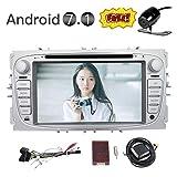 EinCar 7 '' Android 7.1 Quad-Core-Touch-Screen-Auto-DVD-Stereo mit Bluetooth Double 2 Din GPS Navigation-Steuergerät in der Schlag-Radio-Audio-Video-Player für Ford Focus 2009-2012 Unterstützung 1080P / OBD2 / WiFi / Mirrorlink + Wireless-Backup-Kamera