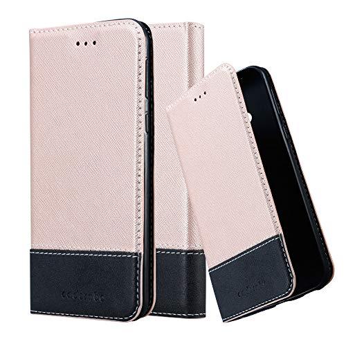 Cadorabo Hülle für HTC U Play in ROSÉ Gold SCHWARZ - Handyhülle mit Magnetverschluss, Standfunktion & Kartenfach - Case Cover Schutzhülle Etui Tasche Book Klapp Style