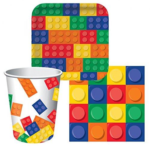 Tischdeko Bausteine (32 Teile) für 8 Kinder (Teller, Becher & Servietten)