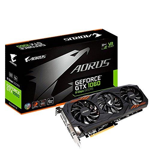 Gigabyte GV-N1060AORUS-6GD AORUS GeForce GTX 1060 6G 9 Gbps Computer Graphics Card