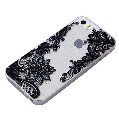 Per iPhone 5S / SE Apple, Cover Bumper iPhone 5S Silicone, Custodia iPhone 5SE Trasparente, Surakey Lace Fiore Mandala Gatto Design Creativo Morbida Shell Gel Gomma TPU Case Liscio Leggero Protettivo  Fiore Pizzo Nero