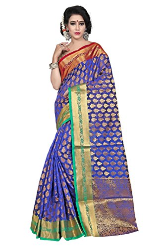 Laxmi Fashion Blue Banarasi Silk Cotton Saree (Z0042-Silk-1_Blue)