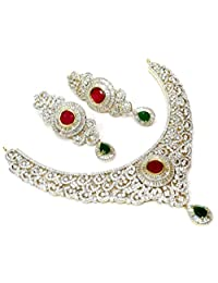 Shingar Jewellery Diamond Look Necklace Set In Ruby Panna Colour For Women (4-nad-a)