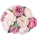 10 Blüte Blatt Künstliche Rose Wohnaccessoires & Deko Kunstblumen Silk Blumen Garten Dekoration DIY rosa Blume (Pink)