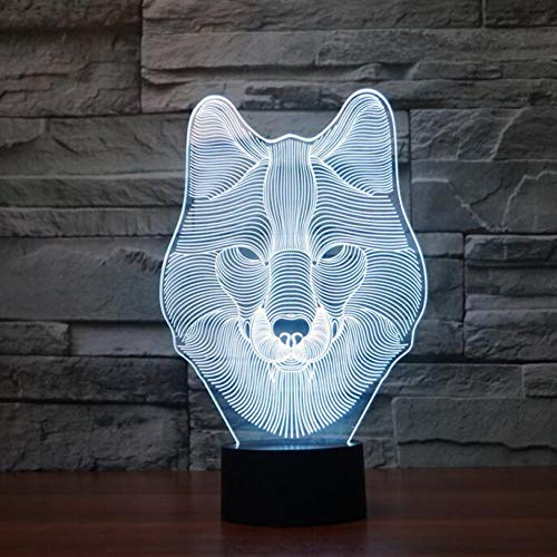 (NSYW USB Geschenke 7 Farben Ändern Tier Wolf Led Nachtlichter 3D Led Schreibtisch Tischlampe Als DekorationHalloween Kinder Geschenk Changeable)