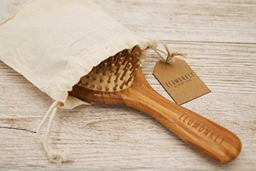 Bambus Haarbürste ✮ Zero Waste ✮ Plastikfrei ✮ 100% Vegan ✮ Nachhaltig ✮ Naturborsten aus Bambus ✮ Antistatisch ECOMONKEY® - 5