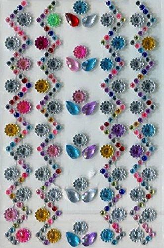 Minerva Crafts Aufklebbarer Strasssteine, selbstklebend, Blumen sortiert–Pro Pack