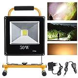 HD2014 Hengda® 50W LED Warmweiß Scheinwerfer Akku Fluter IP65 Scheinwerfer 3000-3200K Wandstrahler Wasserdicht
