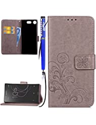 EUWLY Coque Sony Xperia XZ1 Compact,Sony Xperia XZ1 Compact Housse,Sony Xperia XZ1 Compact Étui Cuir,Premium Folio Cuir [ Lucky Clover ] Embossing Portefeuille avec Cordon Lanyard Retro Housse pour Sony Xperia XZ1 Compact,[ Anti Choc] [ Anti-scratch ] Folio Flip PU Leather Wallet Case Coquille Smart de Coque avec Card Holder étui pour Sony Xperia XZ1 Compact + 1 x Stylet Bleu - Gris