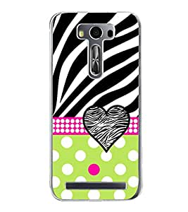 Fuson Green Dot Heart Love Designer Back Case Cover for Asus Zenfone 2 Laser ZE550KL (5.5 Inches) (Ethnic Pattern Patterns Floral Decorative Abstact Love Lovely Beauty)
