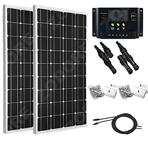 Solar Panel Bundle 200 W (2 x 100 W) zODORE solaire Panel Kit with 30 A Charge Controller + 1 pair mC4 branch connectors + 2 Set Solaire Panel Mounting Z Bracket + 5 m * 12 AWG Solar Panel Cable – Complete Kit For A 12 V Or 24 V system E.G. in a Caravan, Boat or Outhouse