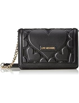 Love Moschino Damen Leder Falten über Clutch-Tasche Schwarz