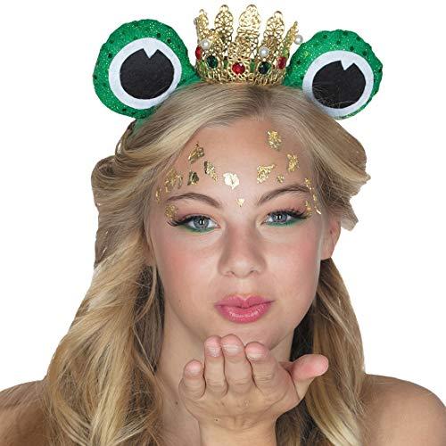 Amakando Witziger Frosch-Haarreif mit Augen / Grün-Gold / Edles Prinzessin-Diadem mit Krone & Glubschaugen / EIN Blickfang zu Kostümfest & Fasching