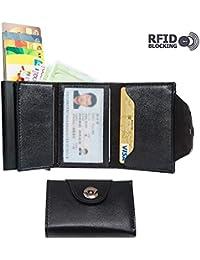 Tarjetero Billetera Hombre 2 en 1 ,RIFD Cartera Crédito Delgada de Cuero antiarañazos para Billetes